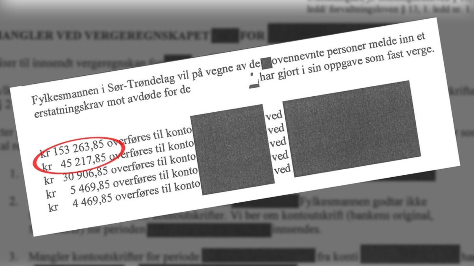 UNDERSLAG: Vergen som skulle forvalte pengene til et brødrepar fra Trondheim stjal nærmere 200.000 kroner. Brødrene fikk bare igjen 70.000 av disse kronene. FOTO: FAKSIMILE
